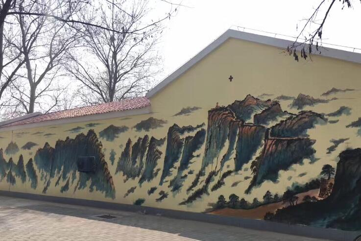 墙绘中的山