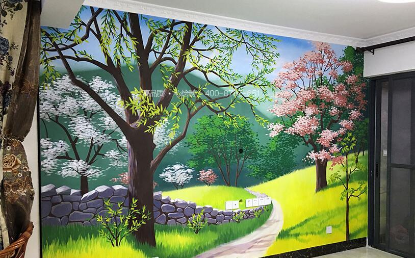 丙烯颜料手绘墙