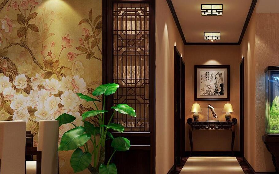 居家走廊中国风墙绘素材