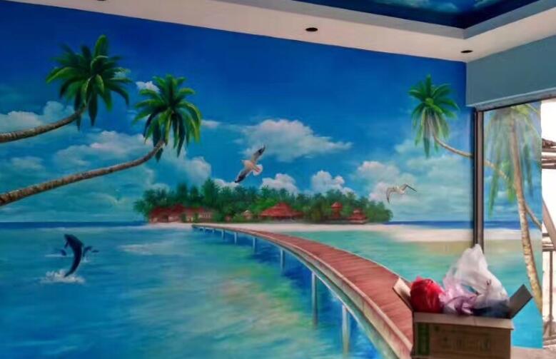 自然风景手绘墙图案