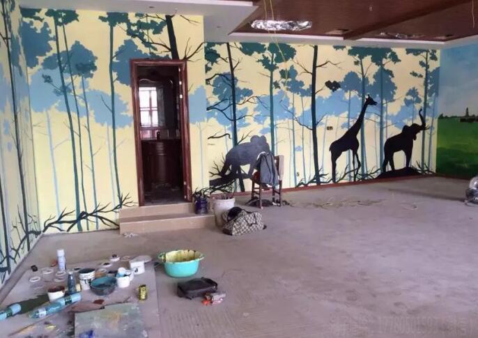 抽象手绘墙图案