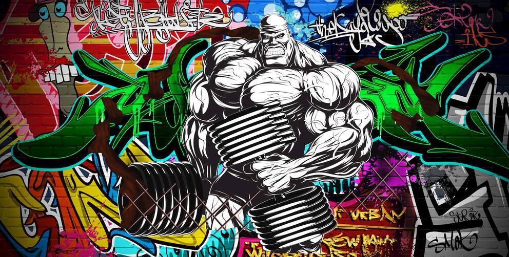 手绘健身房涂鸦装饰画素材