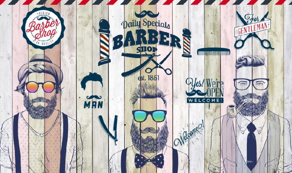 美发店店必备:理发店墙绘素材设计