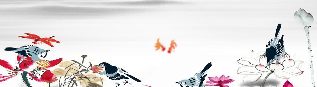 蜻蜓花鸟主题古典墙绘