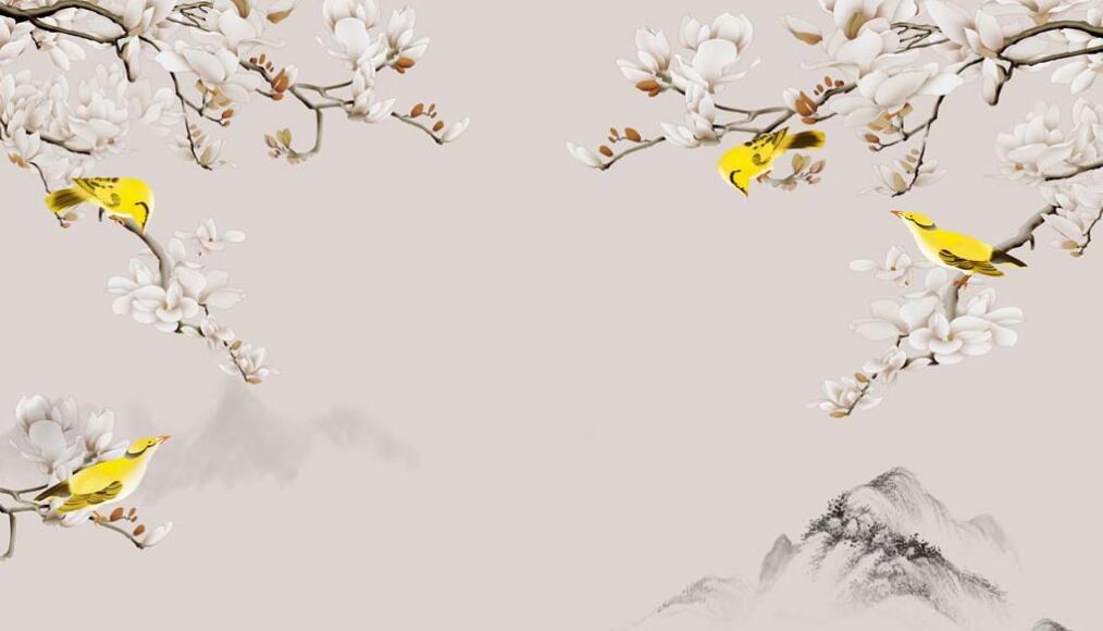 花鸟山水主题古典墙绘图片