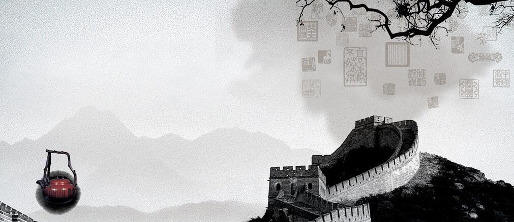 长城创意黑白墙绘素材图片