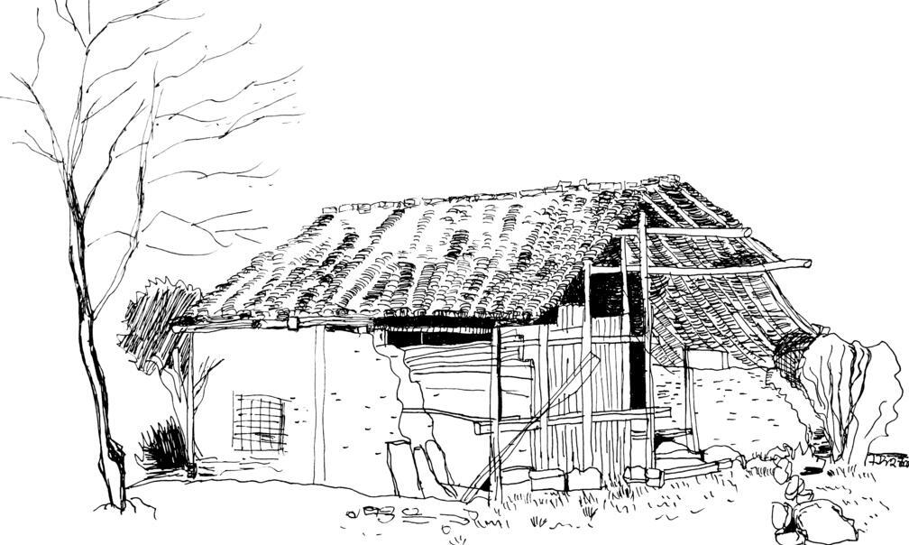 简易房子黑白手绘背景