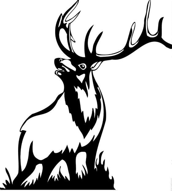 麋鹿黑白手绘素材图案
