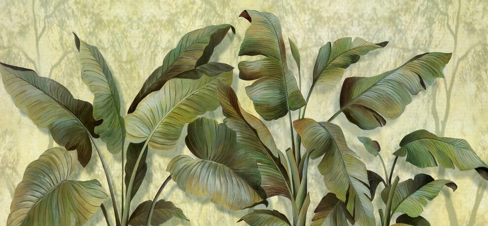东南亚热带雨林芭蕉叶墙绘素材图片
