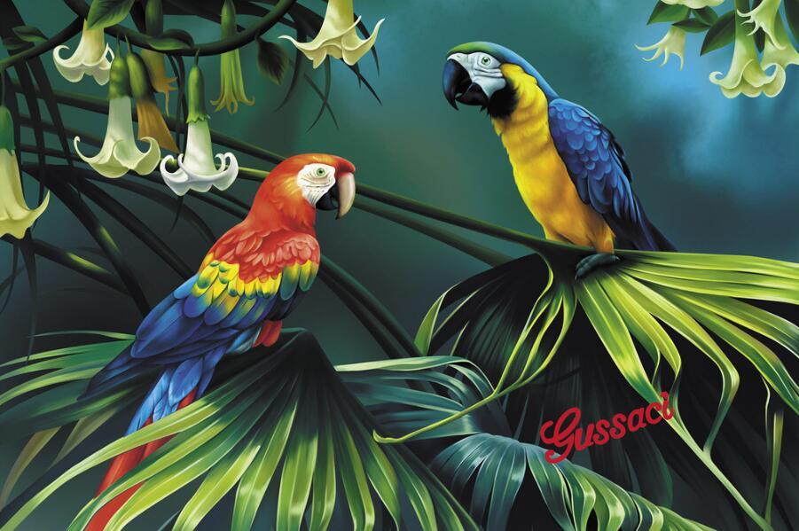 东南亚热带雨林风格元素墙绘素材