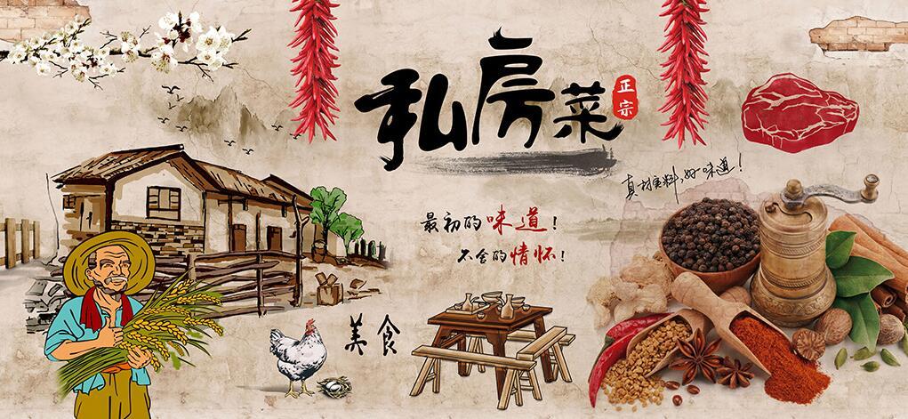 农家私房菜厨房墙绘素材