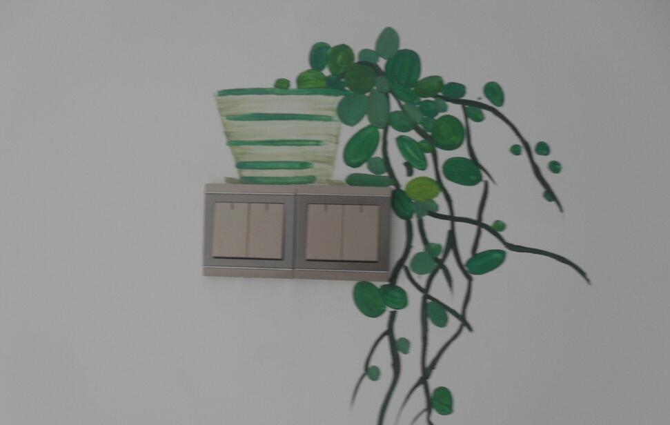 绿植开关墙绘图片素材