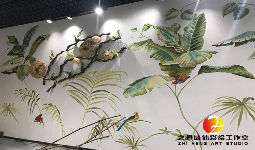 小清新风格3D奶茶店墙体彩绘