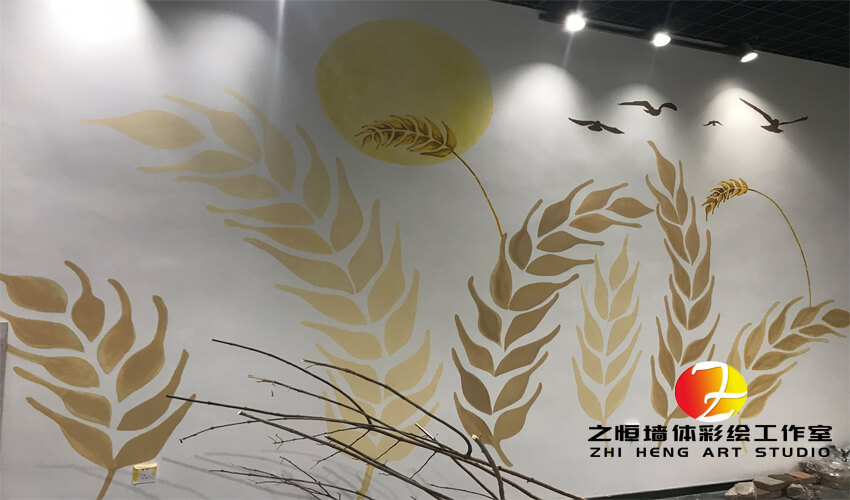 麦穗主题奶茶店涂鸦墙绘