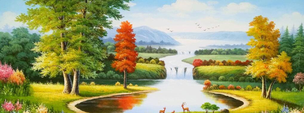 欧式田园风格墙绘风景画油画素材