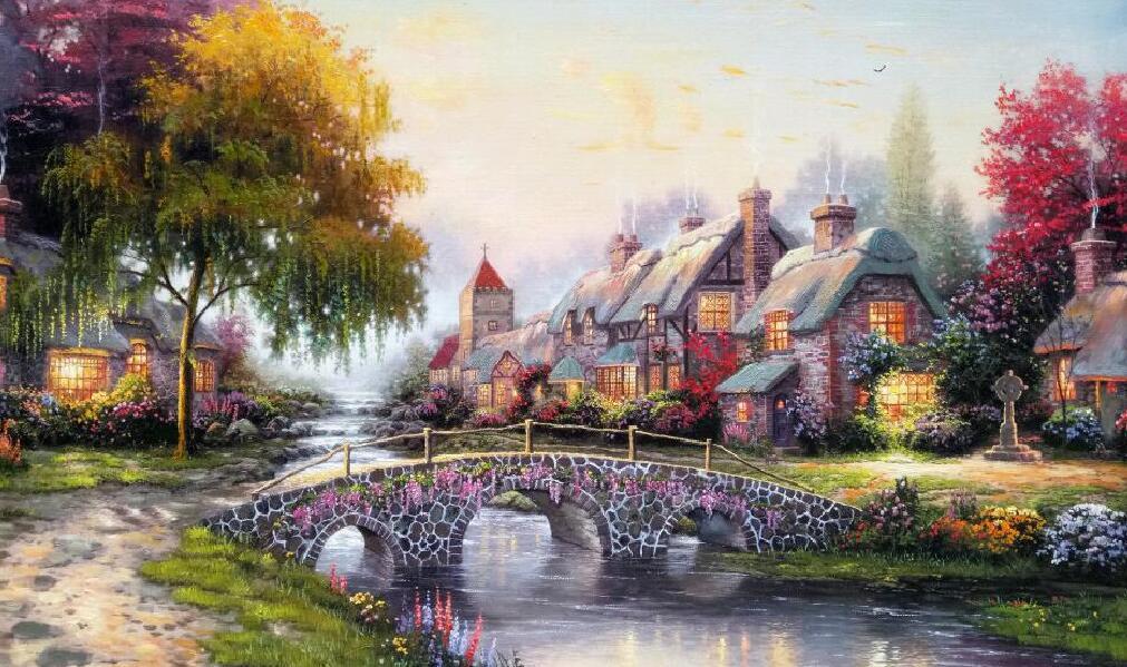 小桥流水田园风格墙绘风景画主题素材图片