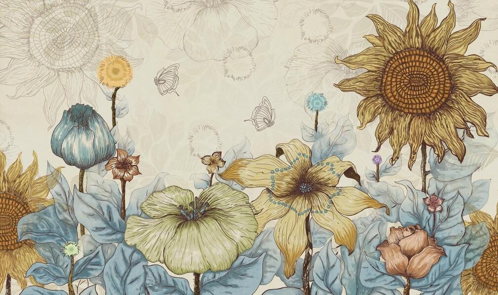 田园风格向日葵墙绘素材