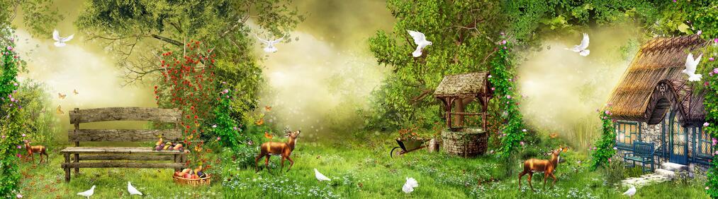 欧式鹿主题田园风格风景墙绘