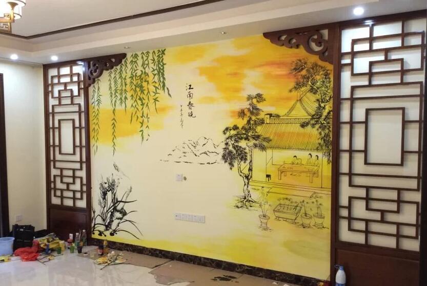 中式室内墙绘
