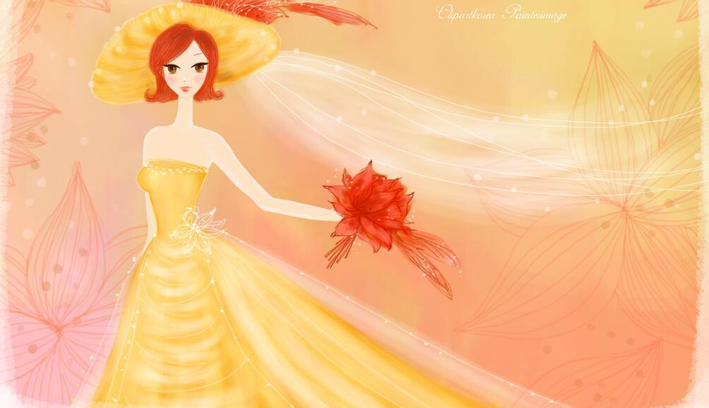 室内婚纱少女墙绘图片