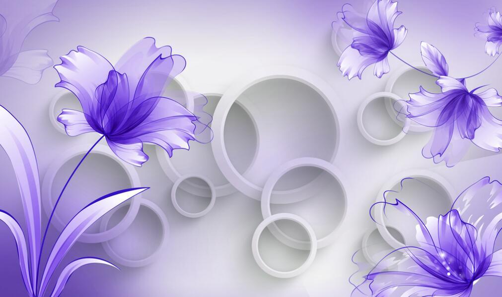 紫色简约型室内墙绘素材图片