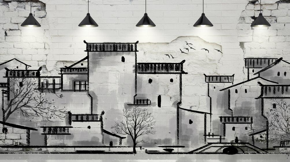 客家风格室内黑白墙绘图片素材