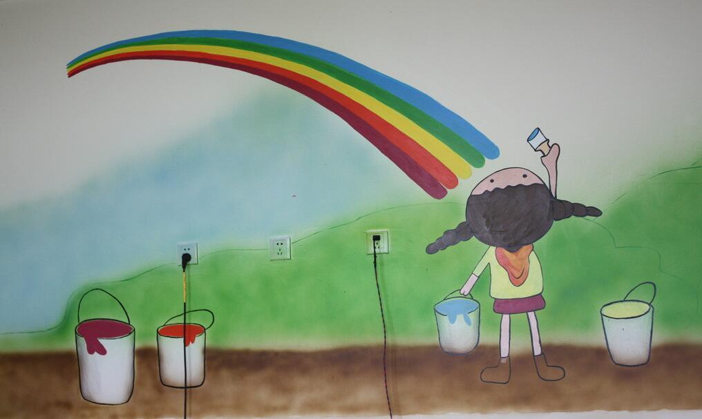 幼儿园彩虹主题室内墙绘素材
