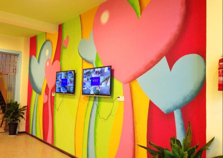 童年的心幼儿园室内手绘墙图片