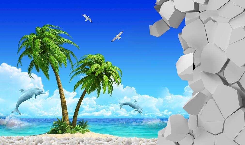 热带海洋沙滩椰树3D墙绘素材