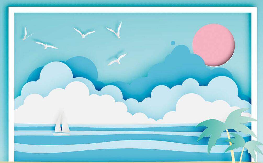 卡通沙滩椰树墙绘图片