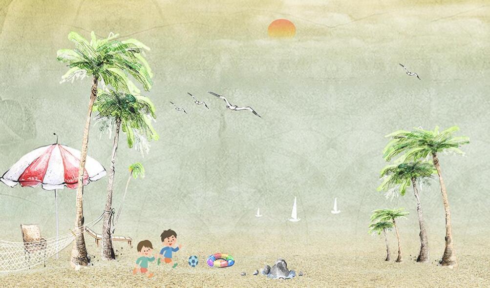 小清新沙滩海浪椰树墙绘素材