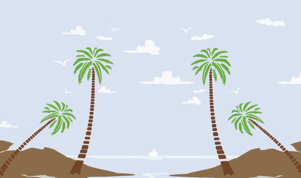 文艺海洋沙滩墙绘