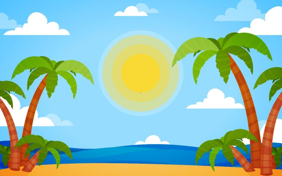 卡通风格椰树沙滩海洋墙绘