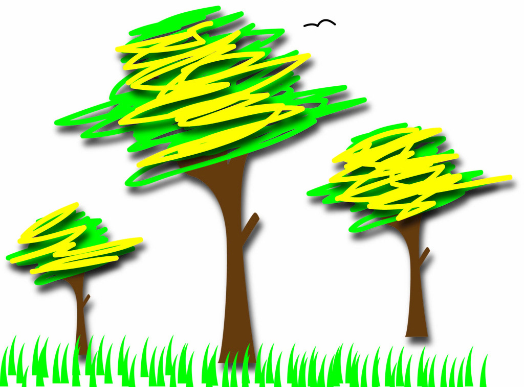 三棵树墙绘彩绘素材图片大全