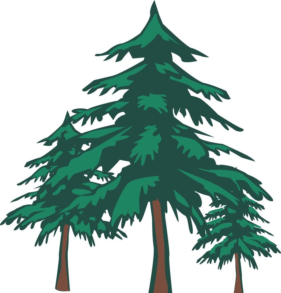 卡用动漫主题三棵树彩绘素材图片