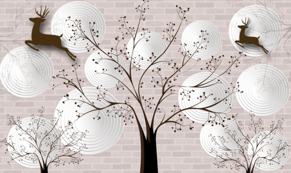 北欧风格三棵树主题电视背景墙绘素材