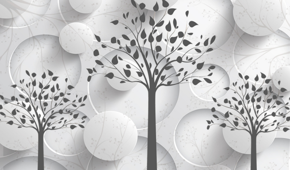 黑白风格三棵树墙体彩绘