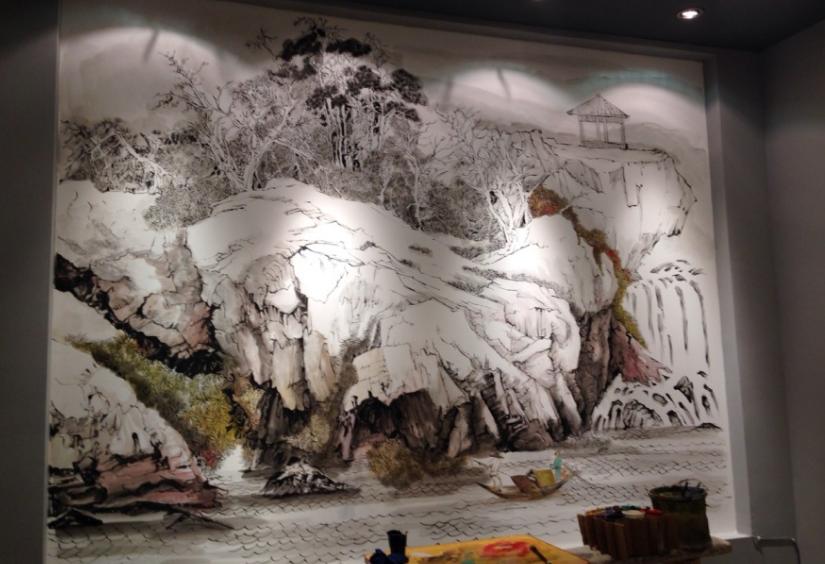 丙烯颜料国画墙绘