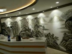 酒店大堂山水墙体彩绘壁画