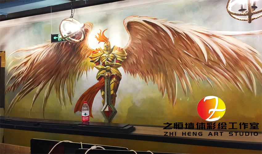 英雄联盟游戏主题网吧墙绘壁画