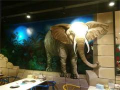 墙体彩绘:餐厅创意3D立体彩绘壁画