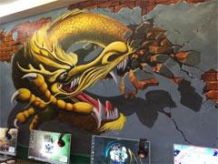 赣州墙绘公司:网吧赣州手绘墙3D立体画