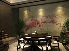火烈鸟主题餐厅壁画墙体彩绘