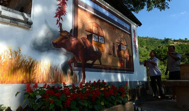 乡村墙绘主题:农耕牛