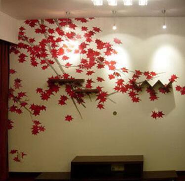 秋天枫叶电视背景墙画