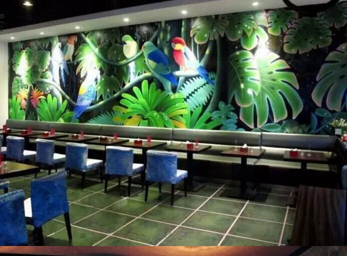 中式餐厅墙绘