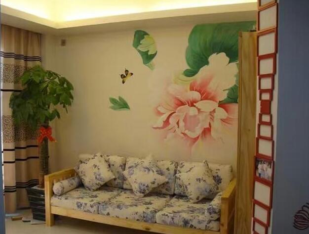 居家卧室手工墙绘
