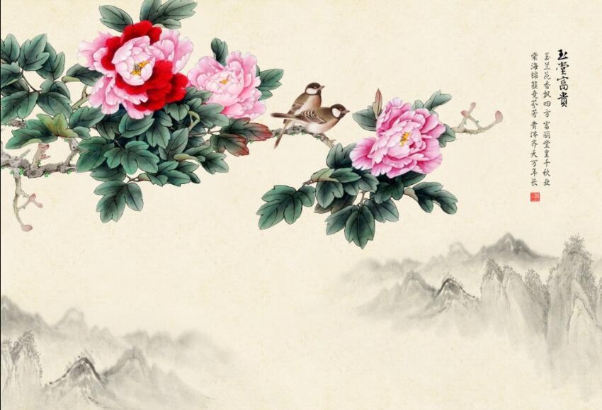 花开富贵手绘电视墙