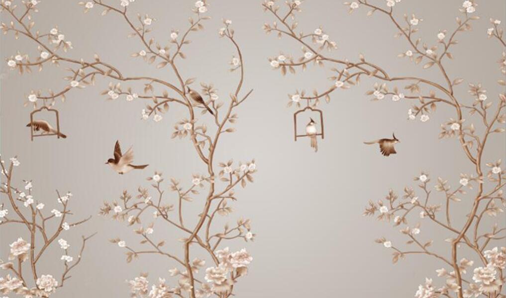 花鸟手绘电视背景墙