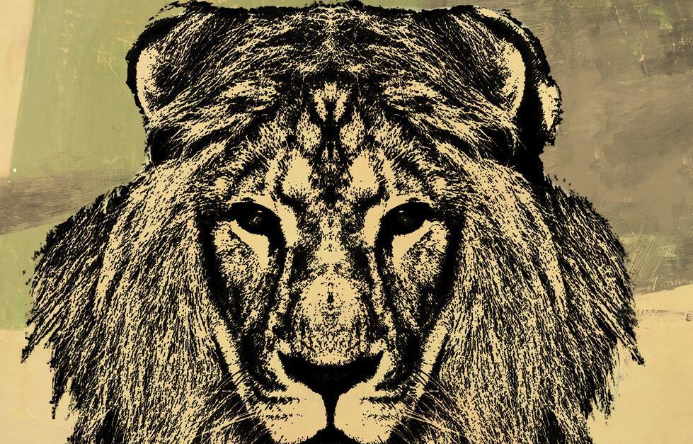 大自然动物狮子创意墙绘素材